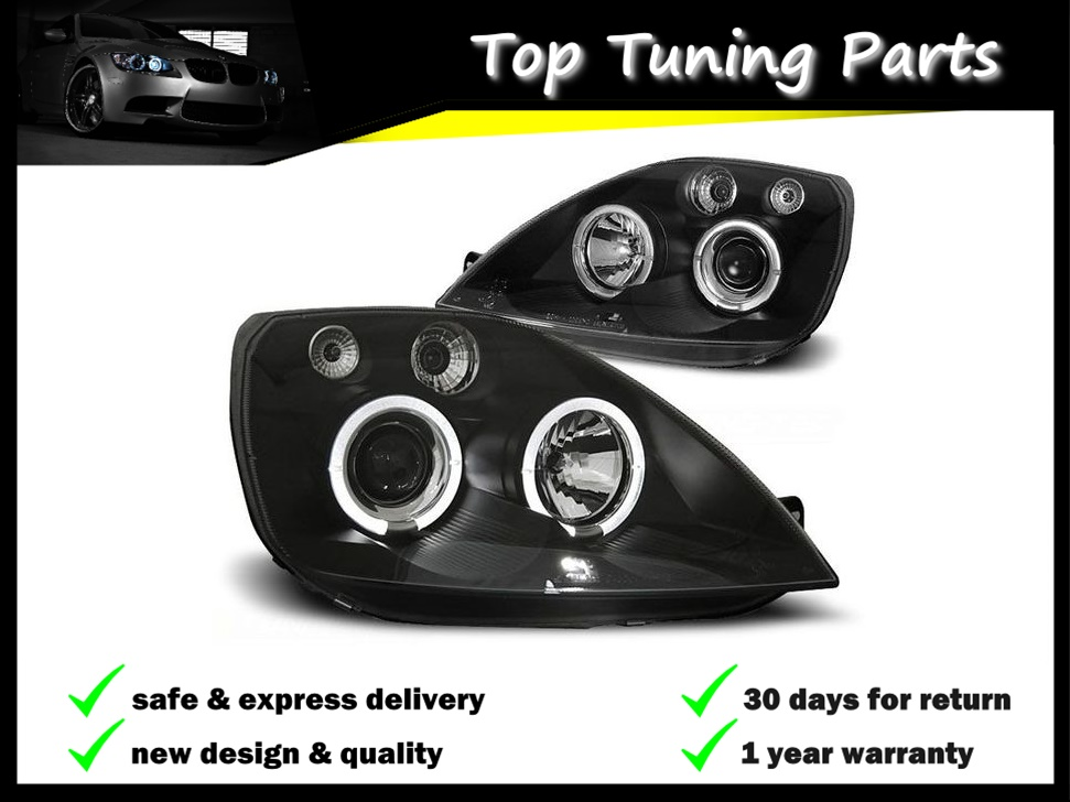 Coppia Fari Fanali Tuning FORD FIESTA MK6 05.2002-08.2005 ANGEL EYES Nero