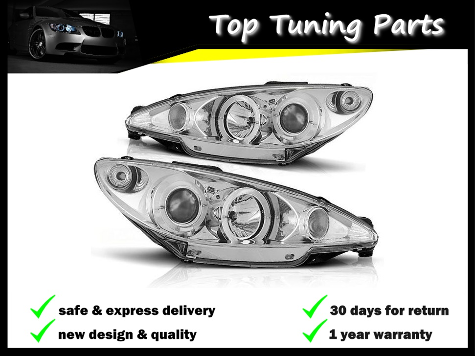 peugeot 206 2003 2004 2005 2006 2007 2008 lppe03 headlights halo rims black